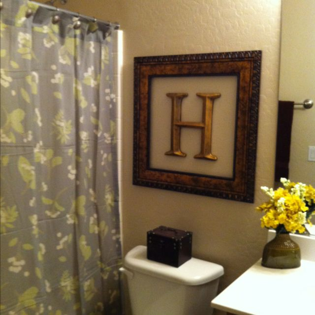 Diy initial frame the hamby home for Bathroom decor frames