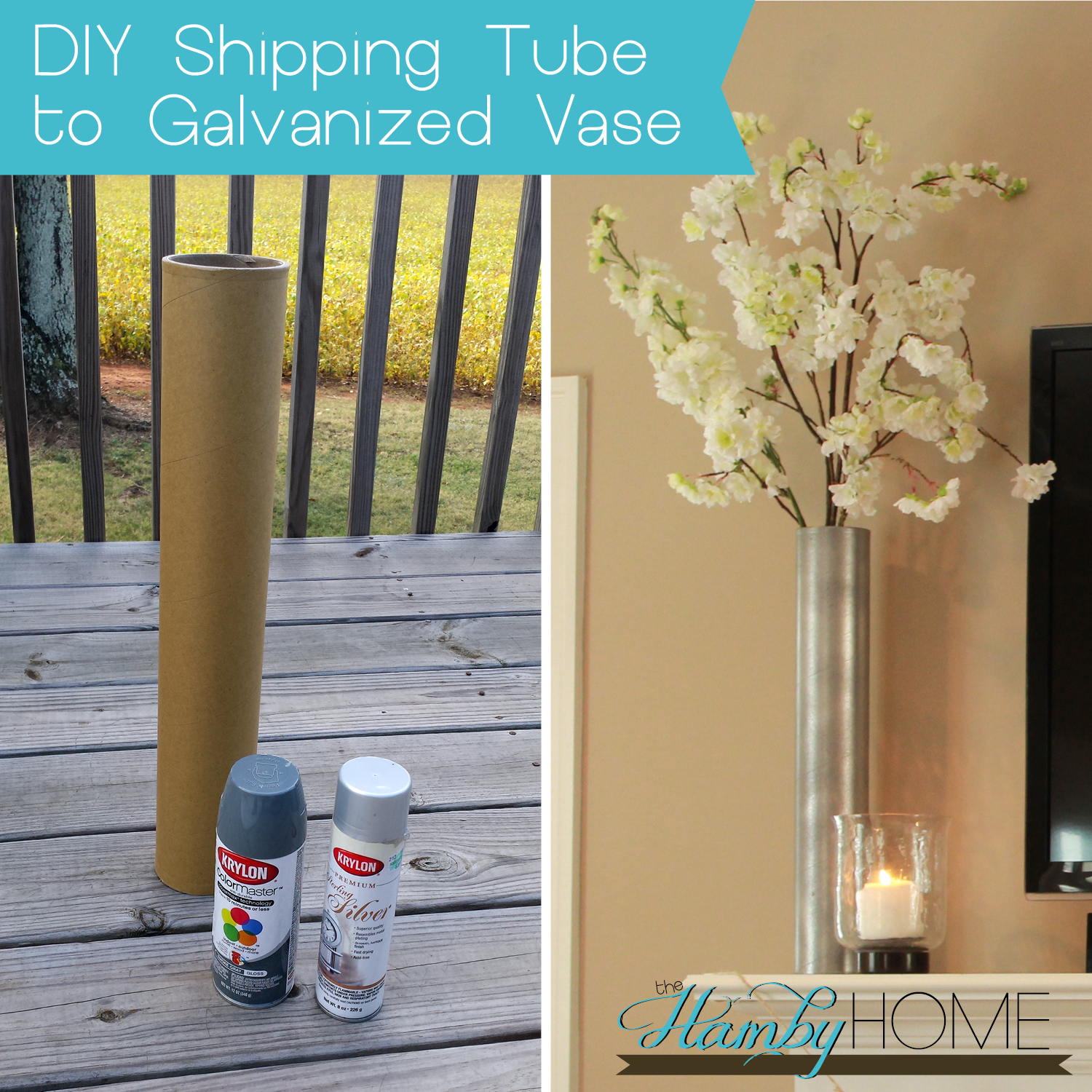 Diy shipping tube to galvanized vase the hamby home for Cardboard tube flowers