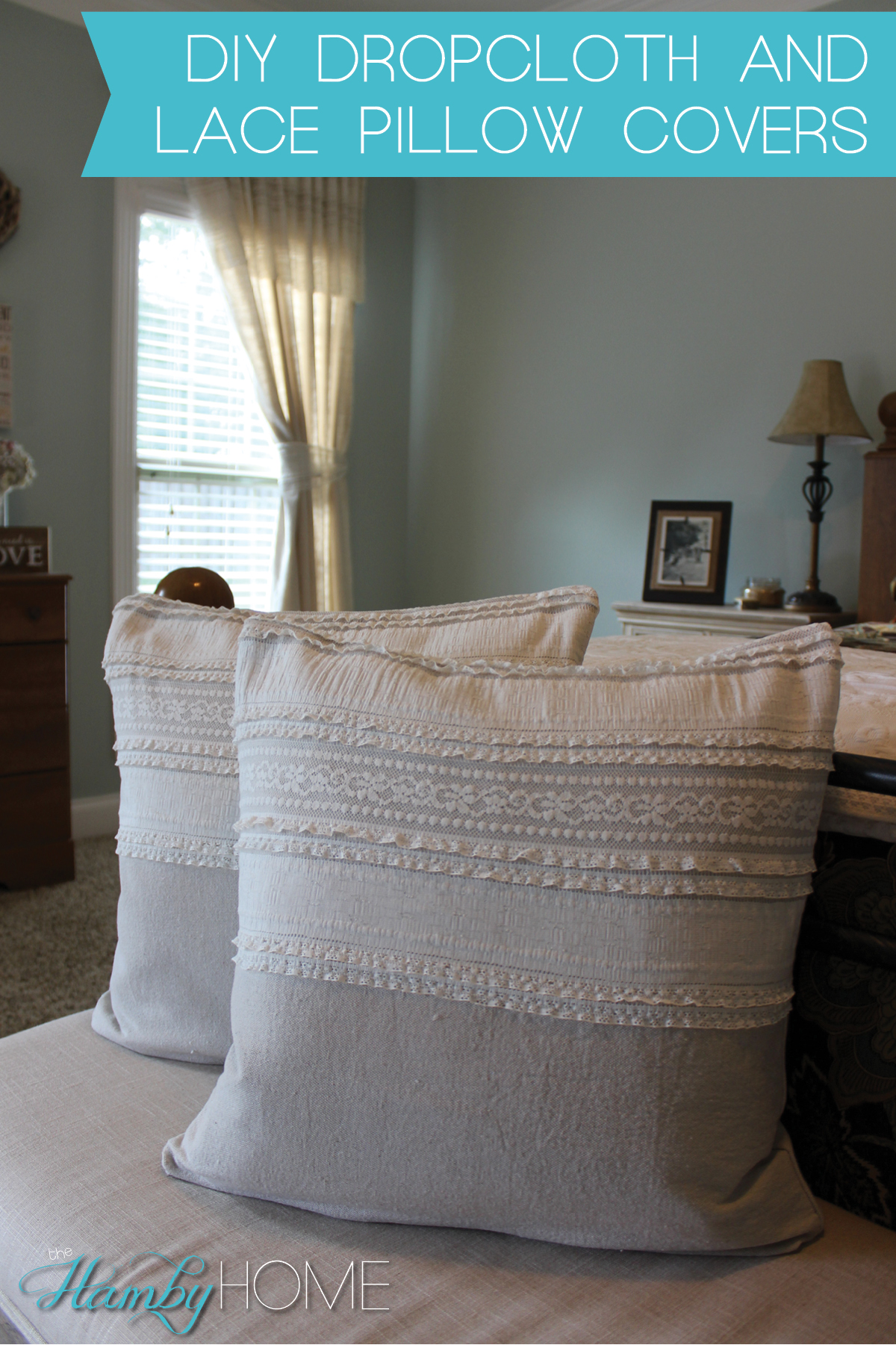 Dy Dropcloth Lace Pillowcover