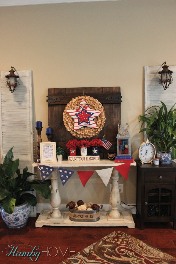 My budget friendly patriotic vignette the hamby home for Patriotic home decorations